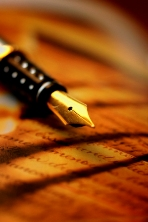 Writing your greeting card with a fountain pen